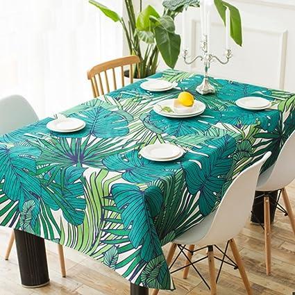 Manteles Comedor hoja de planta verde Vajilla de mesa pintada a mano Mesa cuadrada café lado