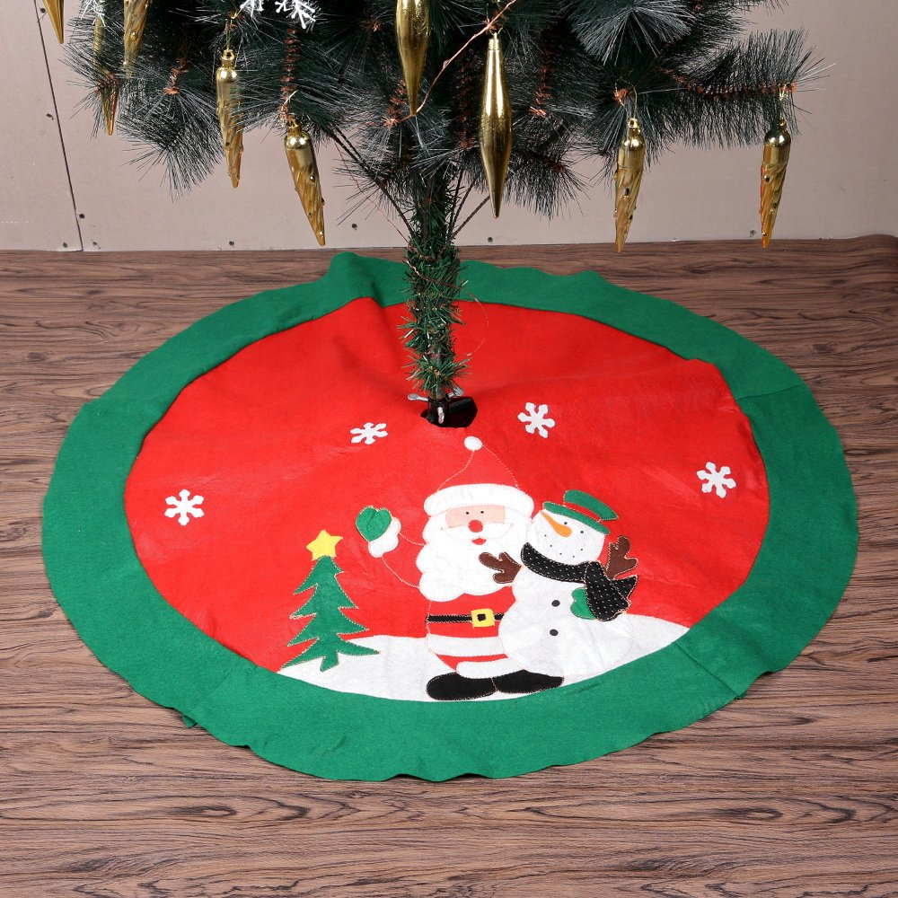 Christmas Tree Skirt Xmas Decoration Felt Tree Mat Base Cover Santa Snowman Pattern Red Christmas Holiday Party Decor (100cm) Mbuynow