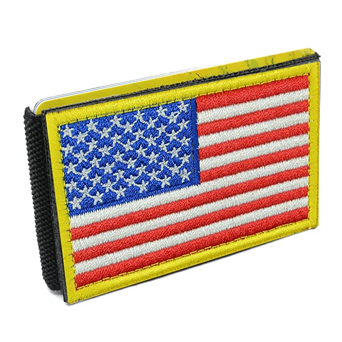 iCraft-94100W Slim Front Pocket USA Flag Tactical Patch Wallet (Gold Border) 610e7422630