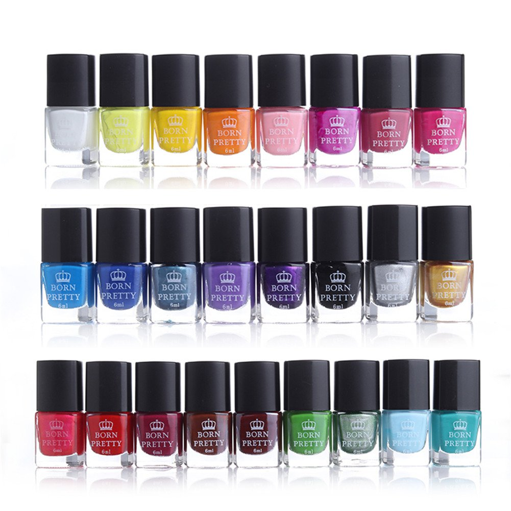 BORN PRETTY 6ml Nail Art Stamping Polish Set Vivid Pure Candy Color Manicure Template Printing Lacquer 25 Colors