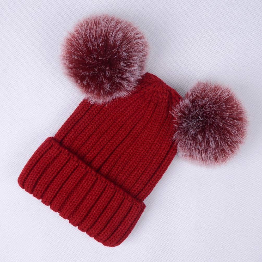 Laus Bonnet tricot femme chaud hiver Bonnets de ski avec deux pompons en fausse fourrure