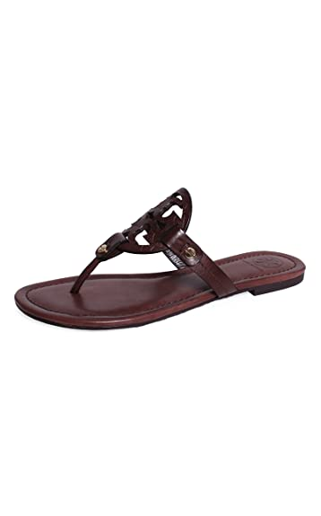 Tory Burch Miller Veg Leather Snake Print Sandal - Chocolate (5.5)