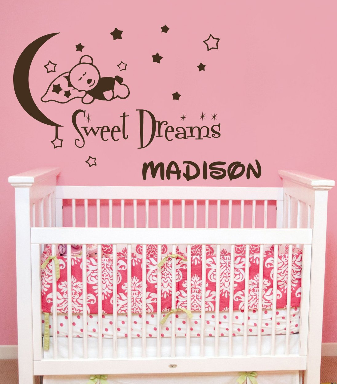 wall decals custom personalized name teddy bear moon and stars wall decals custom personalized name teddy bear moon and stars sweet dreams children gift bedroom nursery boy girl vinyl sticker wall decor murals baby wall