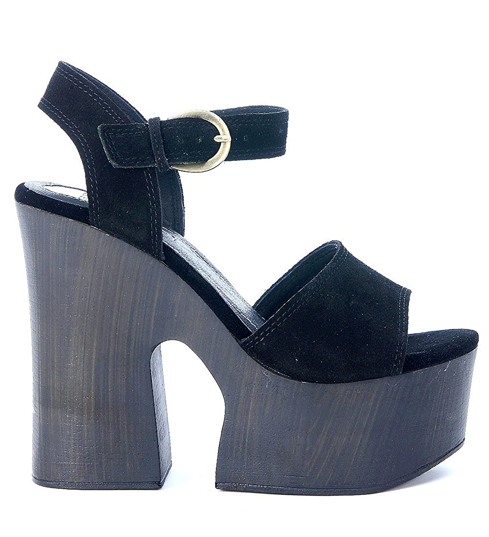 WINDSOR SMITH JADE Sandalo tacco alto legno BLACK SUEDE  Nero