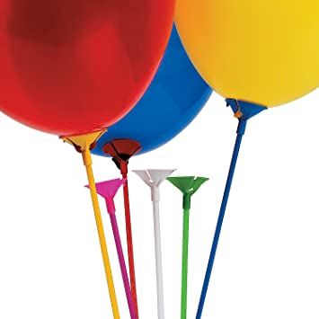 BEST Z10002 100 Plastic Sticks Multi Colour These Balloon Cups With Sti UK STOC