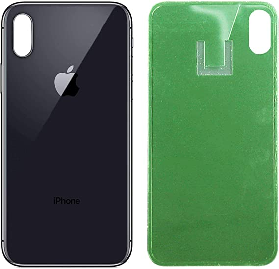 Black OEM Replacement Back Glass Cover Back Battery Door Pre-Installed Camera Frame Replacement for iPhone Xs Max