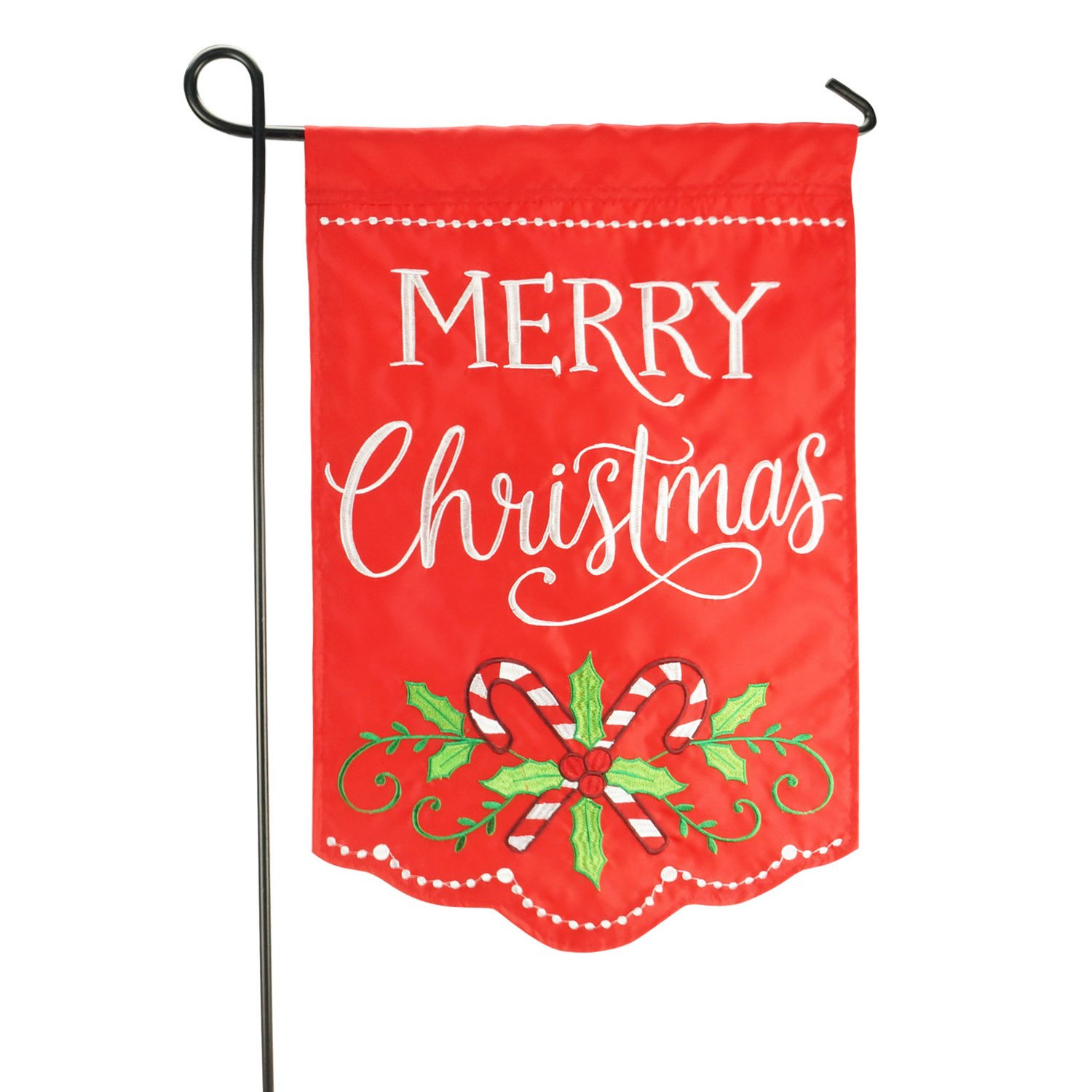 LAYOER Home Garden Flag 12 x 18 Inch Decorative Applique Embroidered Merry Christmas Candy Cane