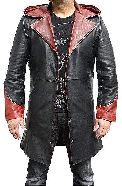 Amazon.com: Chaqueta de piel con capucha para hombre, diseño ...