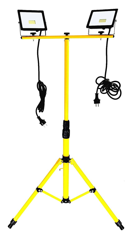 Trango 2x 20Watt LED Arbeitstrahler, Baustrahler Strahler Arbeitsleuchte 2TGG1504-203W - 2700K warm-weiß inkl. je 3m Zuleitung inkl. Stativ mit Höhenverstellbar 66-170cm