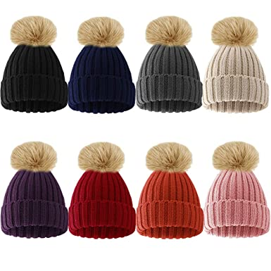 Womens Ladies Winter Rib Knitted Beanie Hat with Detachable Chunky Faux Fur  Bobble Pom Pom-Beige  Amazon.co.uk  Clothing d7e35409fcc1