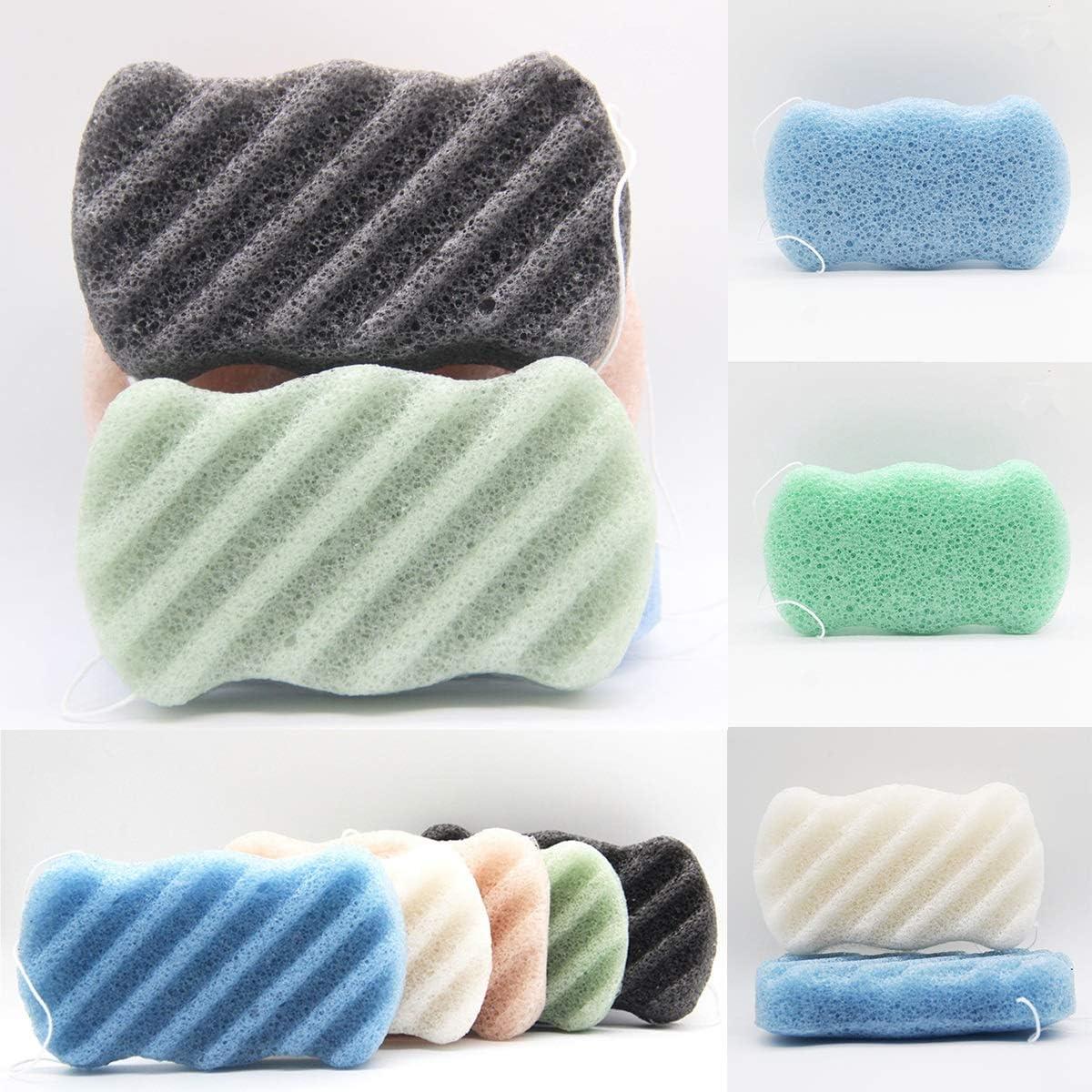 HaiQianXin Natural Konjac Konnyaku Facial Puff Exfoliator Removal Face Cleanse Washing Sponge Color : Green