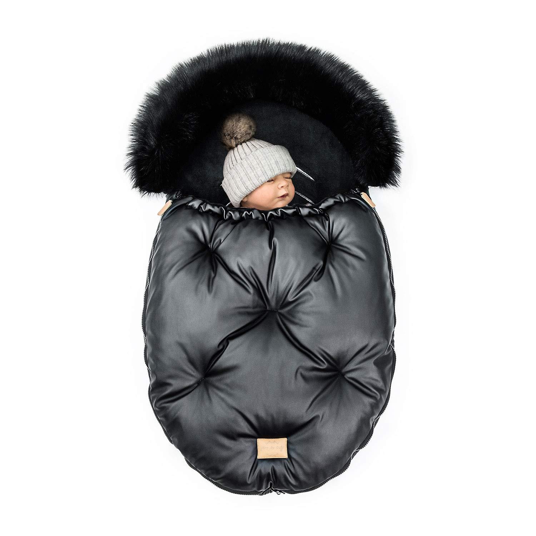 FlooForBaby 90x55cm Schlafsack f/ür Kinderwagen oder Kinder Buggy Made in EU Warmes und Wasserdichtes Babyschale Baby Fu/ßsack Schwarz