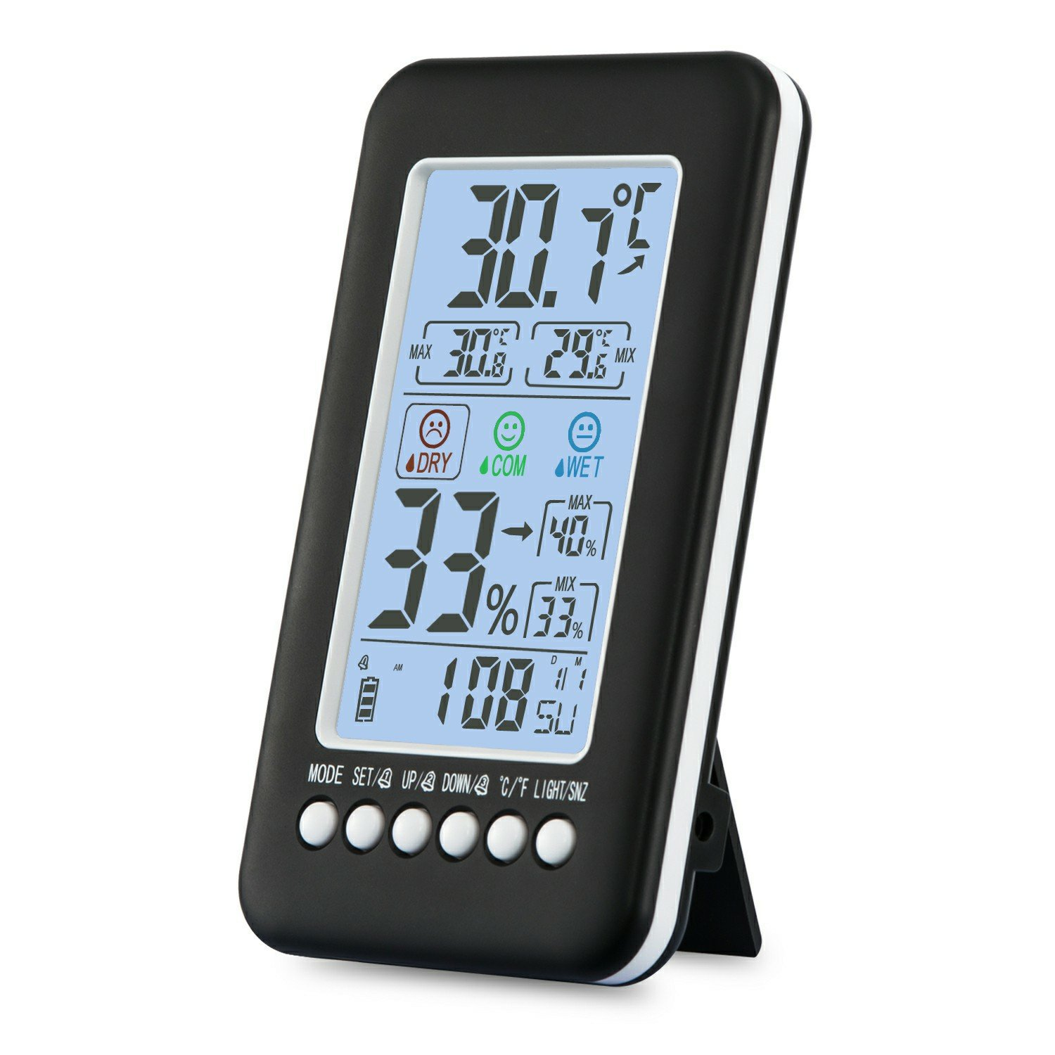 MIEO Humidity Monitor with Indoor Thermometer, Digital Hygrometer and Humidity Gauge Indicator with Alarm Clock Acoustic Control Backlight Humidity Monitor Meter for Home, Office, Greenhouse CJ-3315