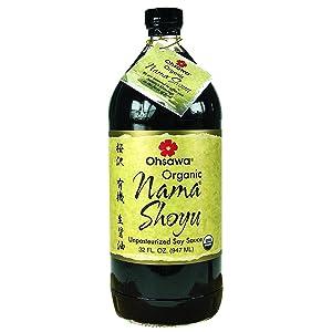 Ohsawa Nama Shoyu, Organic and Aged in 150 Year Cedar Kegs for Extra Flavor - Japanese Soy Sauce, Non-GMO, Vegan, Kosher - 32 oz