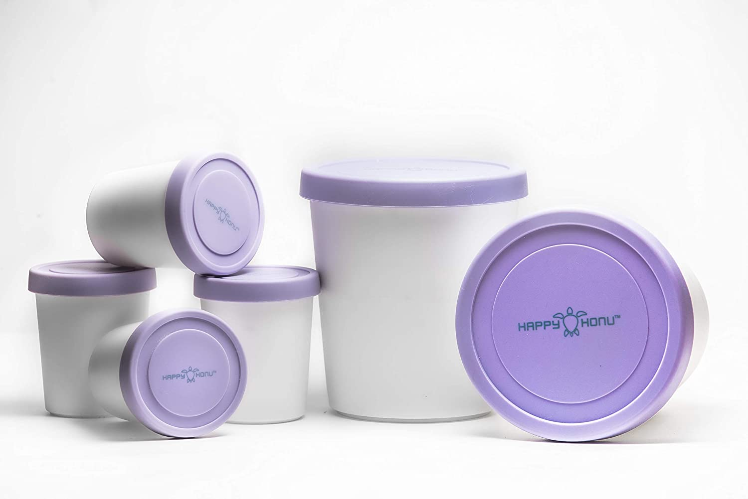 Ice cream tubs large and small 2 X 1 Quart and 4 x half-pint with lids