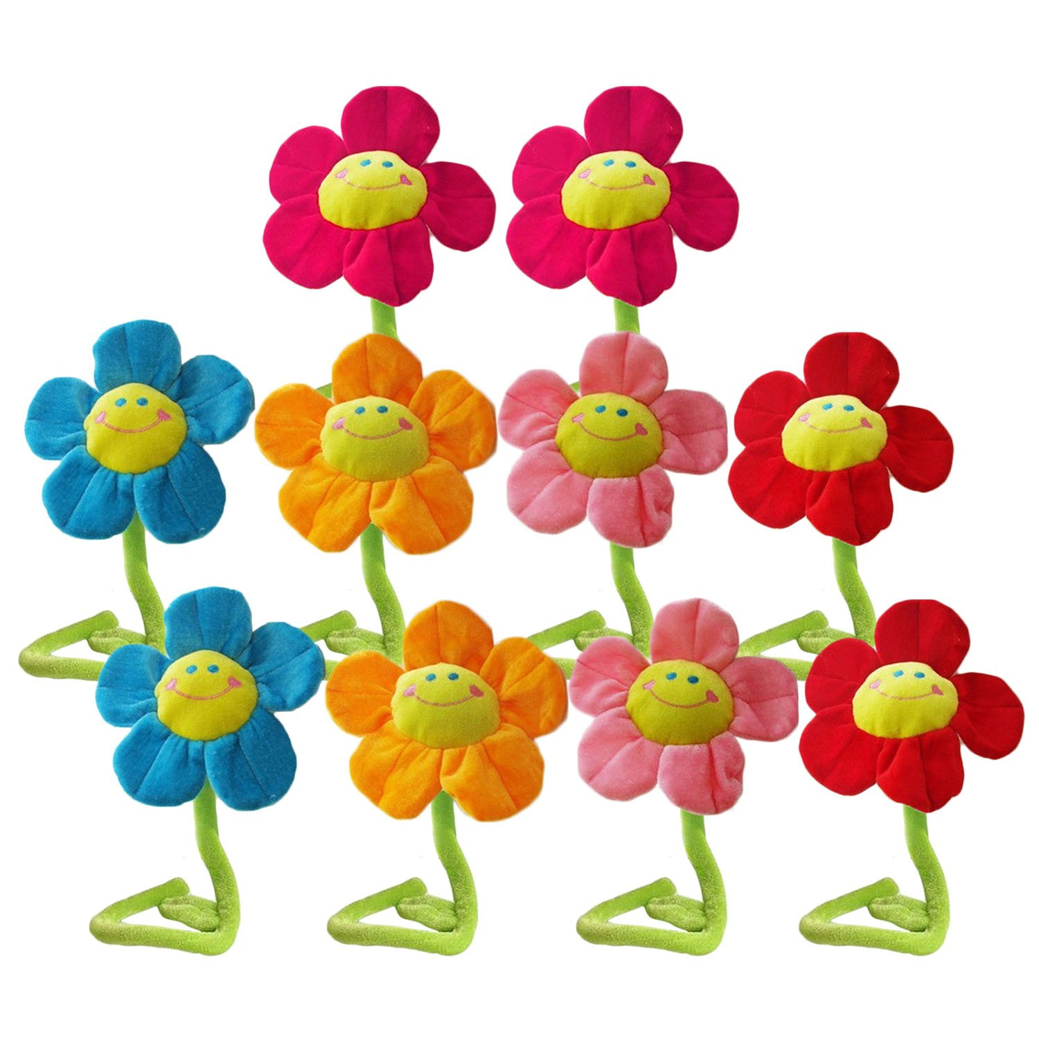 10個32 cm Bendable Plush Smiling Face Daisy Flower Toy人形カーテンバックルランダム色 B0786YD2ZH
