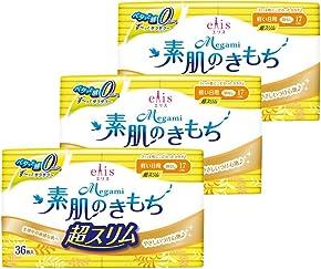 エリス Megami 素肌のきもち 超スリム 羽なし 17cm (軽い日) 108枚(36枚入×3パック) 【まとめ買い】