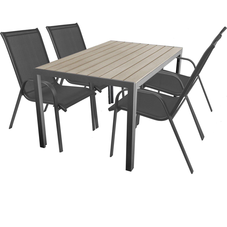 5-teilige Terrassengarnitur Gartengarnitur Aluminium Polywood / Non Wood Gartentisch 150x90cm + 4x Stapelstuhl mit Textilenbespannung Gartenmöbel Terrassenmöbel Sitzgruppe Sitzgarnitur