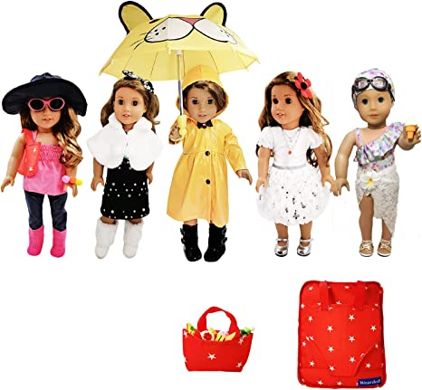 2Pcs//set Doll Clothes Floral Dress Kit Fits 18 inch Doll Baby Kids Girl Toys