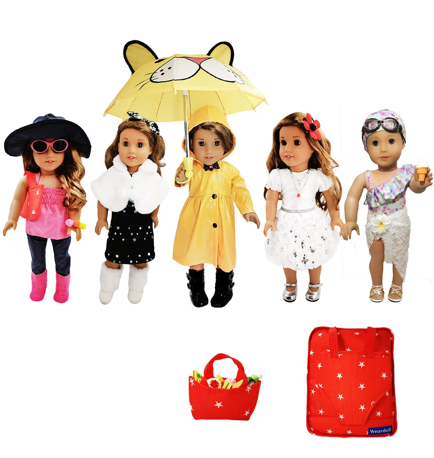 Weardoll 18inch Doll Clothes and Accessories - 33 Items, 18 inch Doll Accessories fits American Girl Doll Accessories, Mylife Doll Accessories by Weardoll