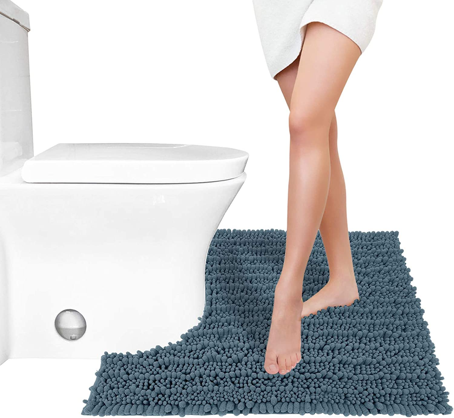 Yimobra Luxury Shaggy Toilet Bath Mat U-Shaped Contour Rugs for Bathroom, 24.4 X 20.4 Inches, Soft and Comfortable, Maximum Absorbent, Dry Quickly, Non-Slip, Machine-Washable, Denim Blue