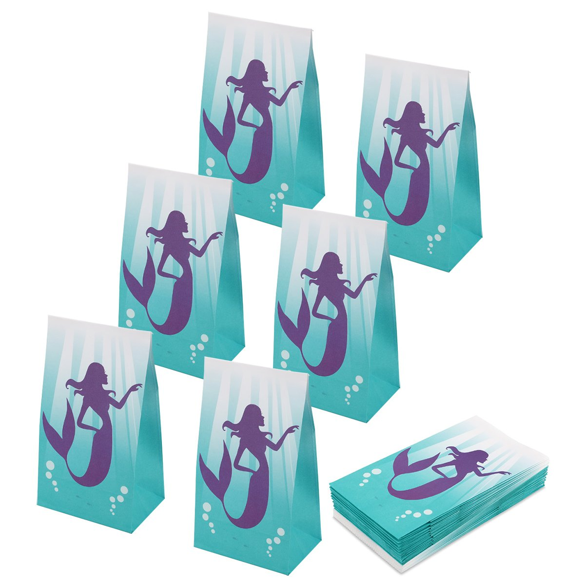 RecooTic Mermaid Party Bags Goodie bags for Kids Mermaid Themed Party, Pack of 24 by RecooTic