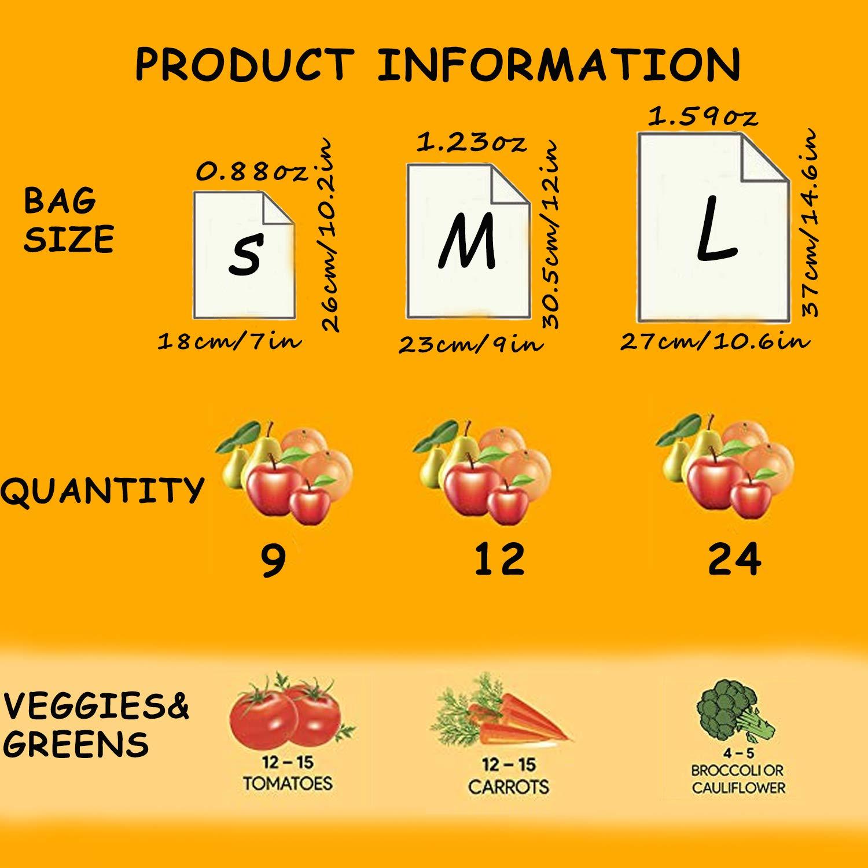 Kyerivs Reusabl Zero Waste - Bolsa de compras de algodón orgánico para frutas y verduras, 5 unidades (2 L, 2 M, S), tela: Amazon.es: Hogar