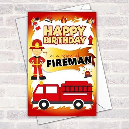 Brillante bombero tarjeta de felicitación de cumpleaños con ...