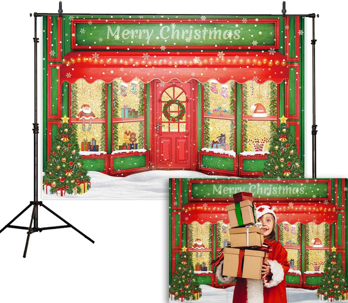 Zhy Winter Christmas Blizzard Valley Christmas Tree 7X5FT Vinyl Photography Photo Background Merry Christmas New Year Party Birthday Cake Table Banner Wall Decor Photo Shoot Studio