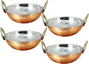 Avs Stores Set of 4, Indian Copper Serveware Karahi Vegetable Dinner Bowl with Solid Brass Handle for Indian Food, Diameter- 15 Cm (6 Inches)