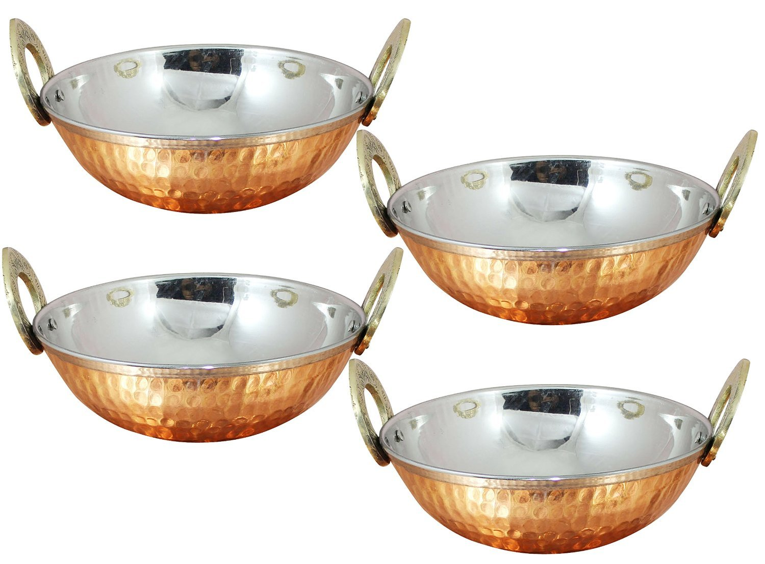 Avs Stores Set of 4, Indian Copper Serveware Karahi Vegetable Dinner Bowl with Solid Brass Handle for Indian Food, Diameter- 15 Cm (6 Inches) Avs Stores ® AV_Tableware_Karahi_002_Set_4