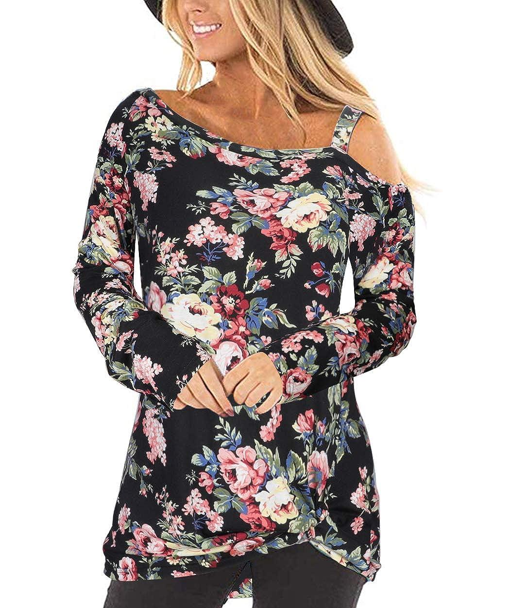 AUU Cold Shoulder T-Shirt Women Long Sleeve//Short Sleeve Shirt Casual Front Knot Side Twist Tunic Tops