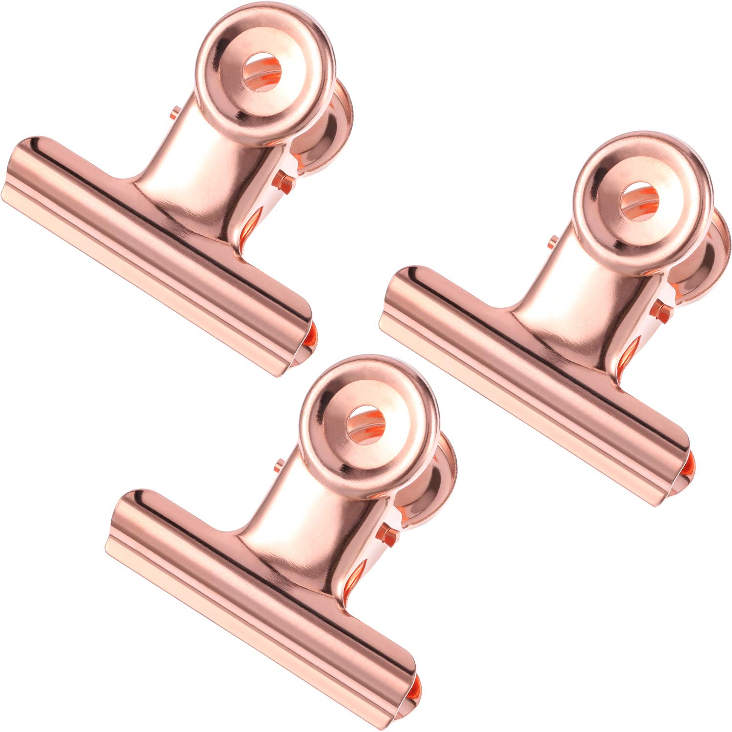 TecUnite Metal Bulldog Clips 2 Inch Bulldog Paper Clips Hinge Clamp File Binder Clips for Photo, File Storage, Home Office Supplies, Pack of 20 (Rose Gold)