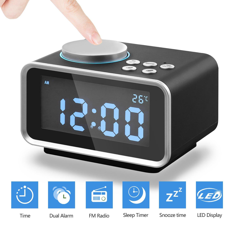 Reloj Despertador Digital Radio FM, Alarma Doble Eaiity con Puerto de Carga USB Dual, Función de Repetición, Termómetro Interior y 6 Niveles de ...