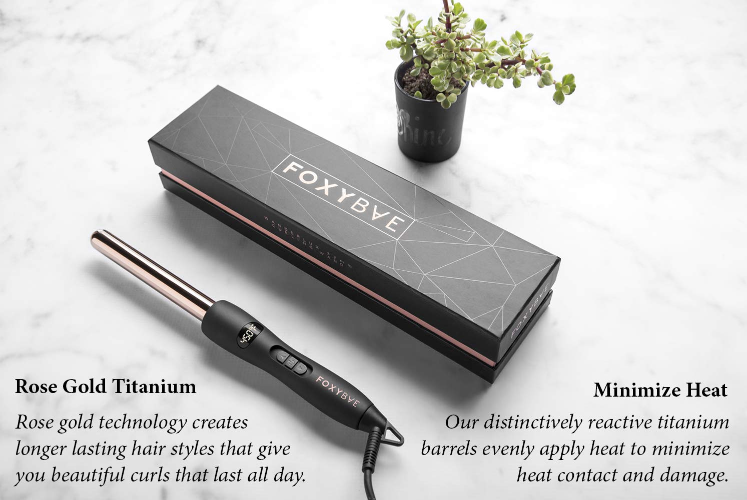 FoxyBae WANDERLUX 19mm Curling Wand – Professional Rose Gold Titanium Hair Curling Iron with Temperature Control – Auto Shut Off, LCD Display – Salon Grade Curls Waves Hair Styling