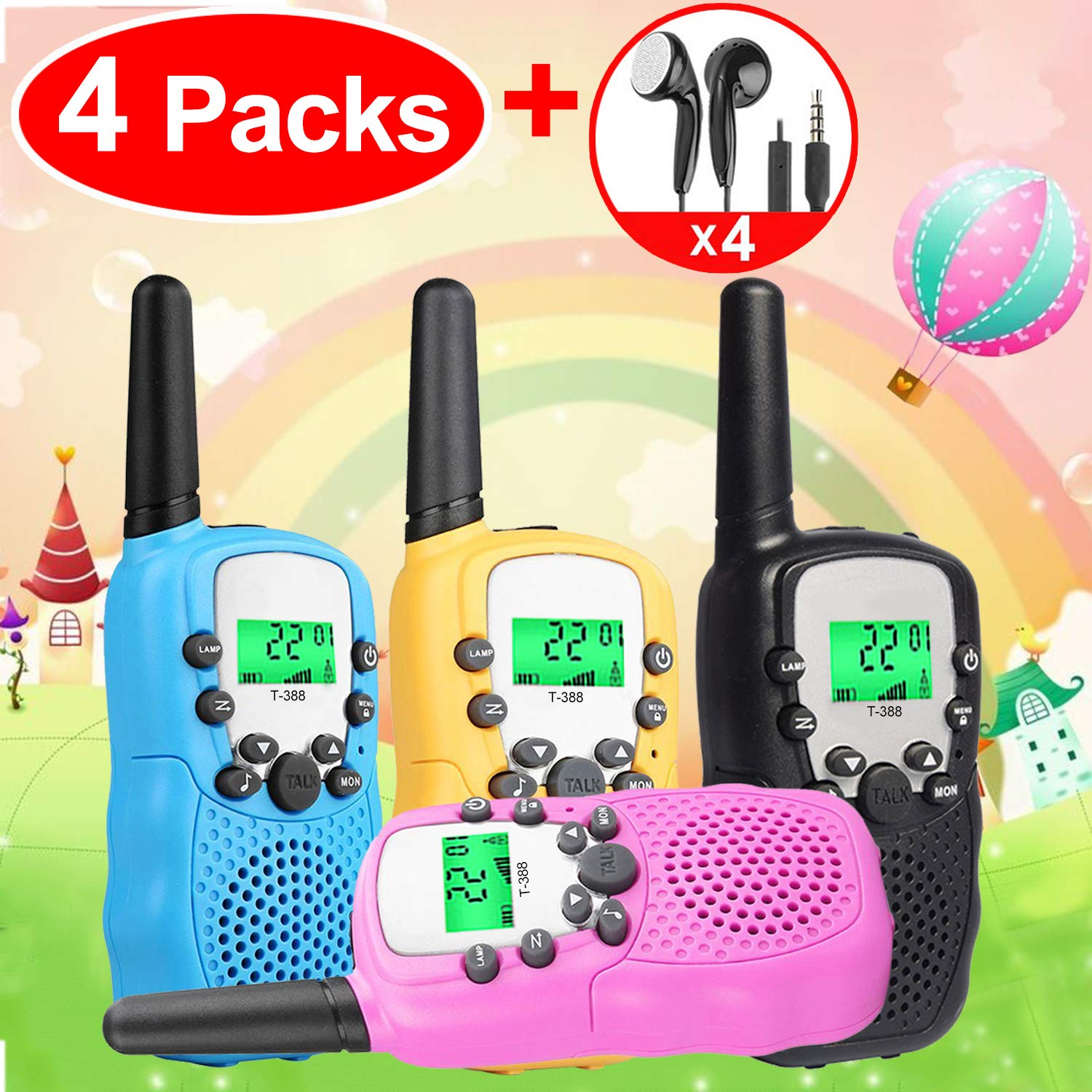 Kids Walkie Talkies Toys for 3-12 Year Old Boys Girls Toddlers, 4 Pack Walkie Talkies with 4 Earphones, 3 Mile Range 22 Channel Flashlight Two-Way Radio, Accessory for Outdoor Adventure Camping Game