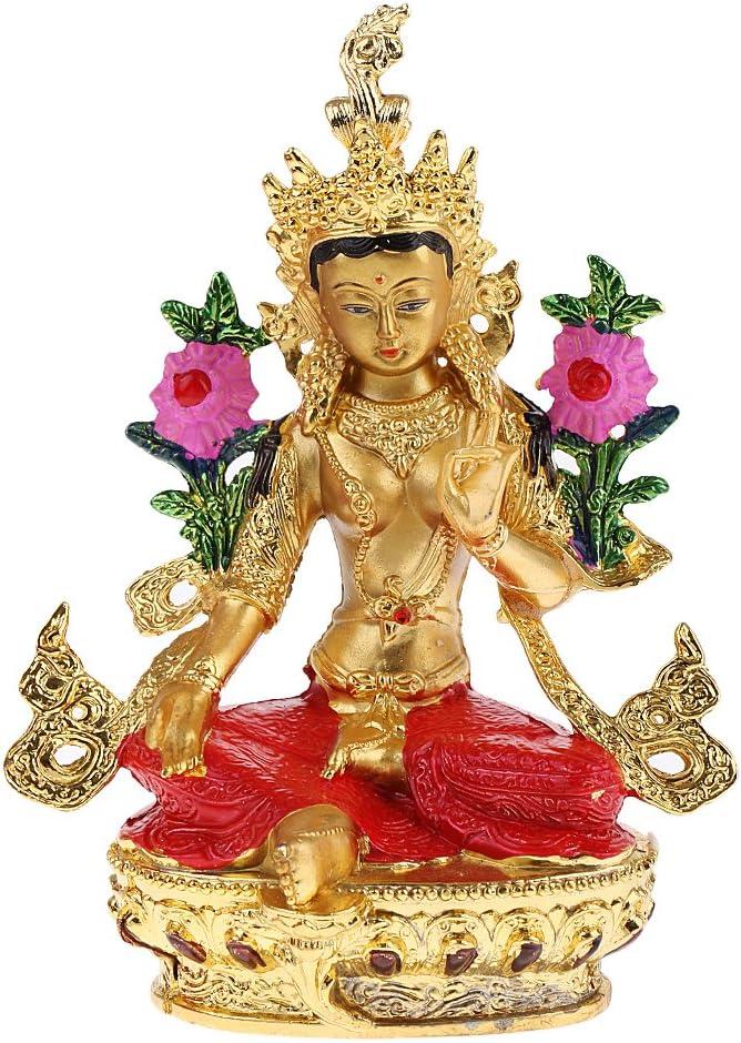 Baoblaze 1 Golden Buddha Tantric Tara Statue Buddhism Figure Model 15cm Home Ornament