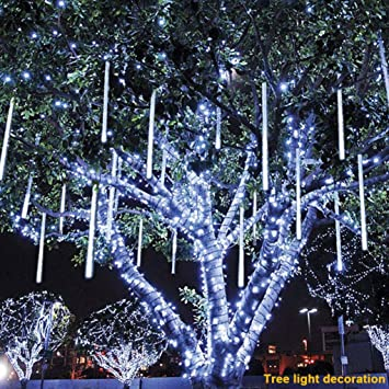 clearance ddlbiz 8pcs party led lights meteor shower rain snowfall xmas tree garden outdoor