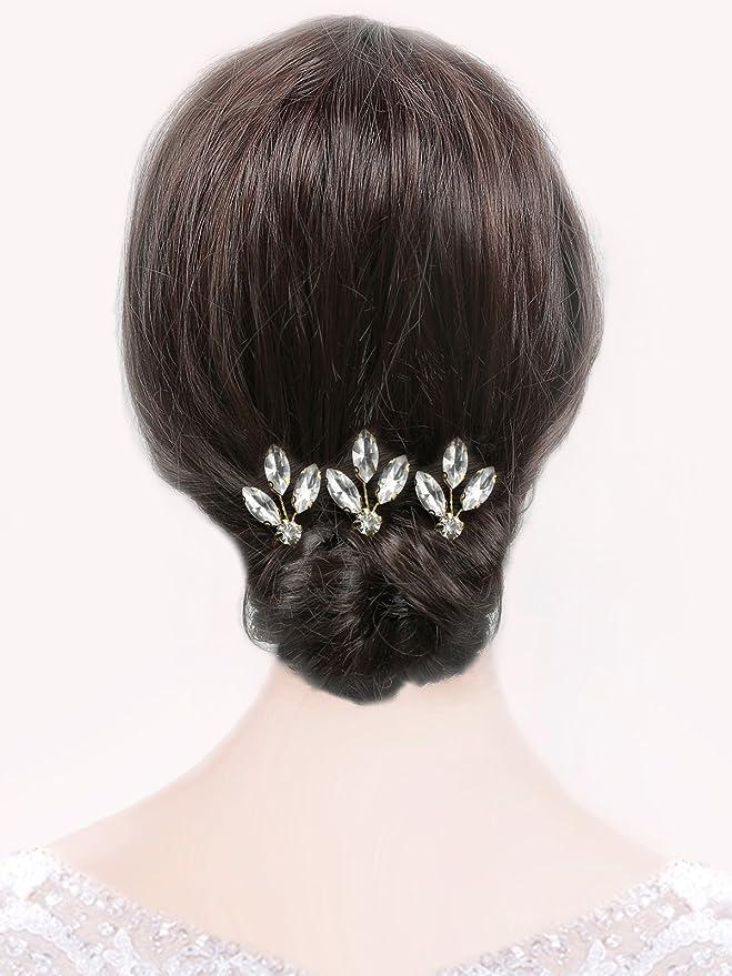 Handcess oro matrimonio set accessori per capelli strass forcine  fermacapelli fiore foglia vite fascia per capelli per sposa e damigelle d   onore ... c1b5f528ae57