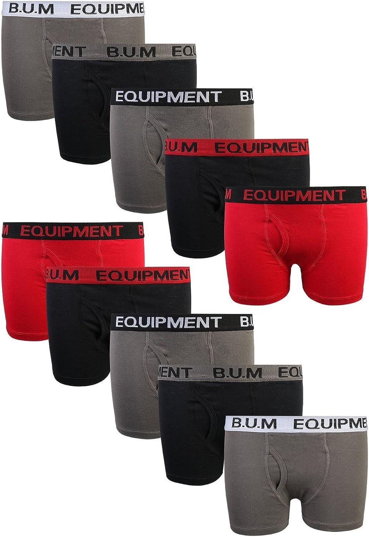 Equipment Boys 10 Pack Solid Boxer Briefs Underwear B.U.M