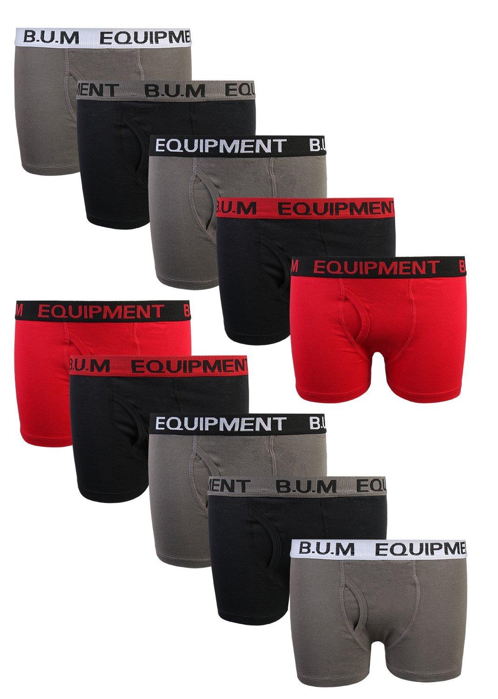B.U.M. Equipment Boys 10 Pack Solid Boxer Briefs Underwear, Basics #2, Large/12-14'