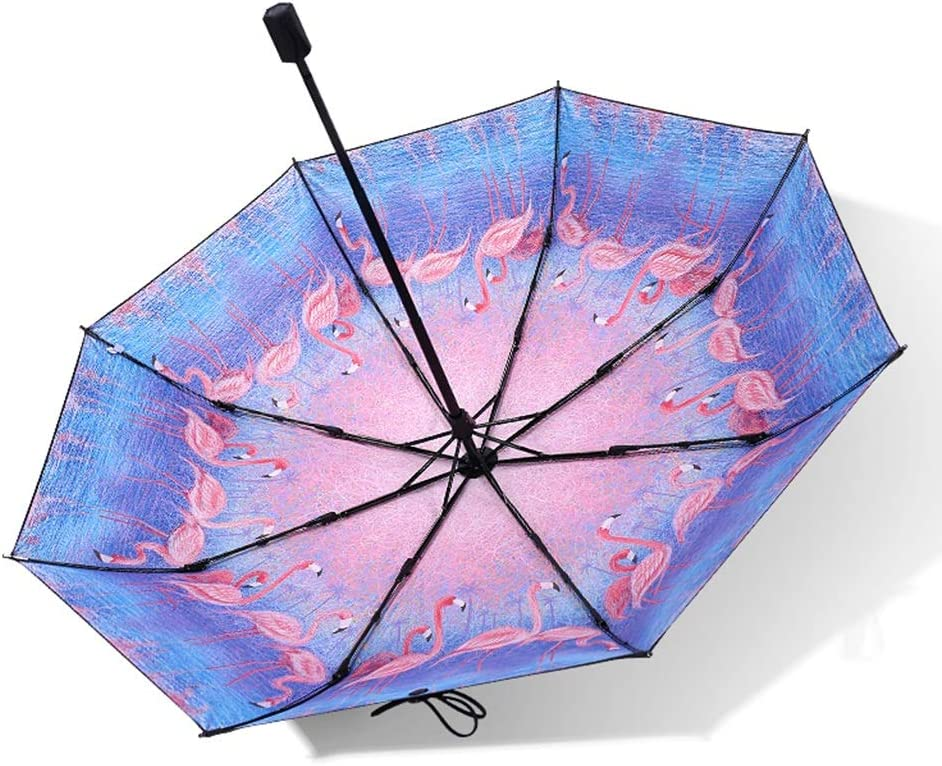 Color : A Umbrella Mini Ultra-Light Anti-UV Umbrella Dual-use Eight-Bone Aluminum Alloy Frame Five Fold Umbrella Windproof Folding