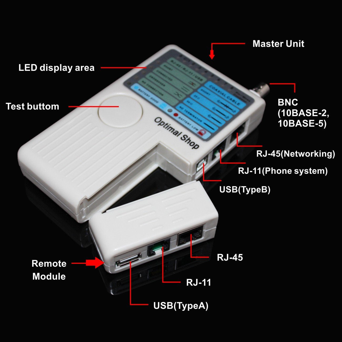 Optimal Shop 4 In 1 Network Cable Tester Rj45 Rj11 Usb Rg45 Wiring Bnc Lan Cat5 Cat6 Wire Computers Accessories