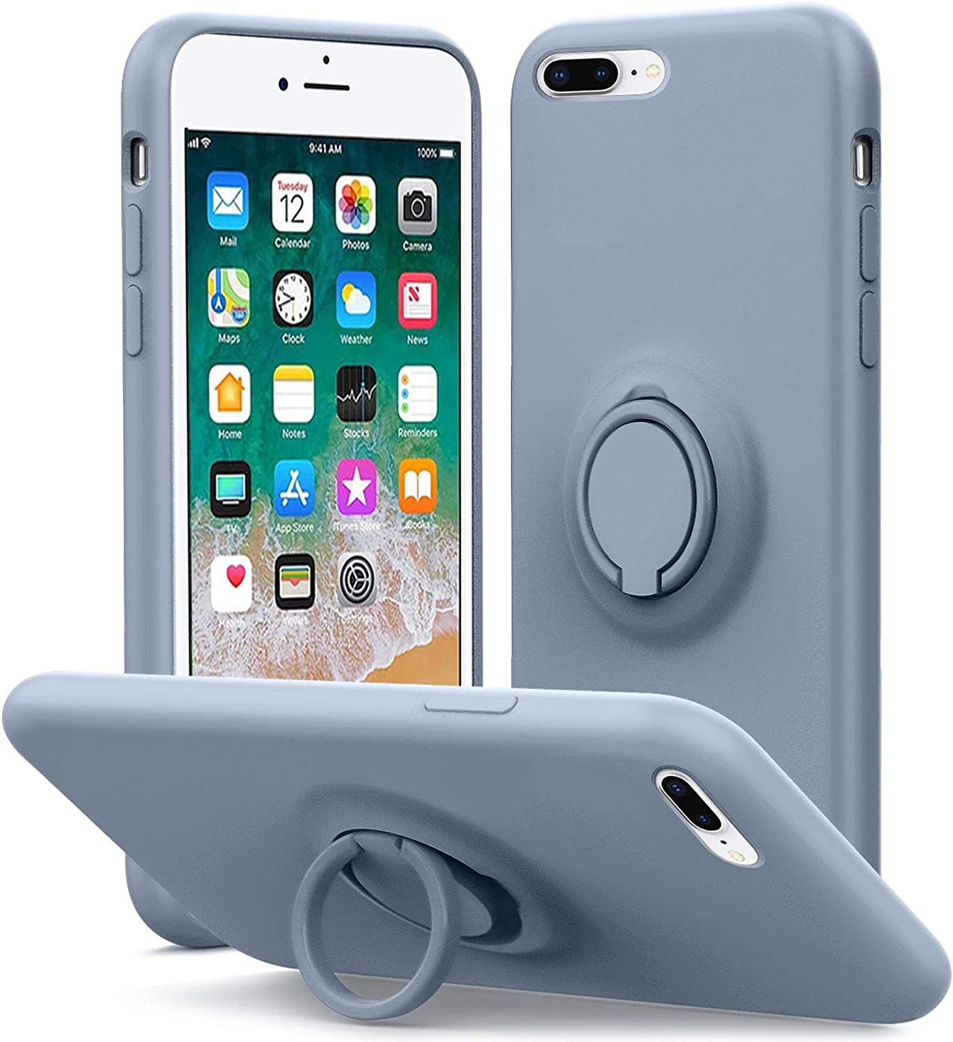 MHH Compatible with iPhone 8 Plus Case, iPhone 7 Plus Case, Kickstand | Anti-Scratch | Silky-Soft Silicone Full-Body Protective Microfiber Liner Shock Absorption Gel Rubber Case-Lavender Grey