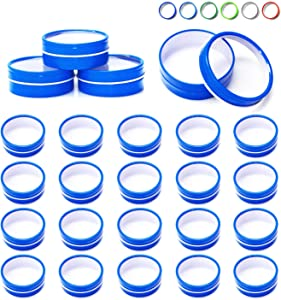 Mimi Pack 24 Pack Tins 2 oz Shallow Round Tins with Clear Window Lids Empty Tin Containers Cosmetics Tins Party Favors Tins and Food Storage Containers (Blue)