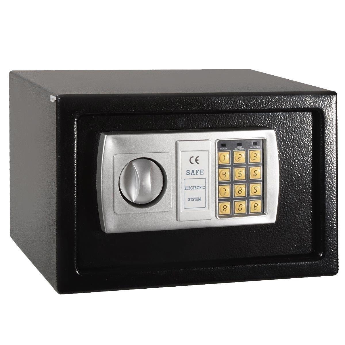 Safe Box Digital Lock Electronic Keypad 12.5'' Black Solid Steel Home Office Cash Safety Storage Vault MD Group