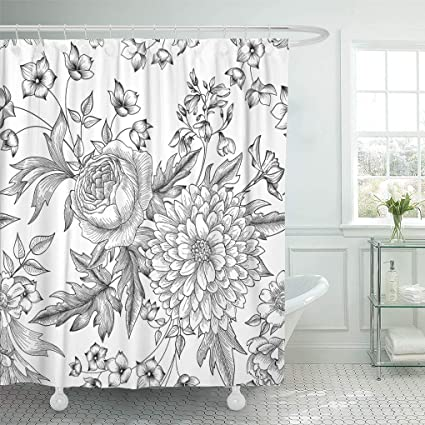 Emvency Shower Curtain White Spring Floral Summer Flower Bouquet Engraving Wildflower Curtains Sets With Hooks