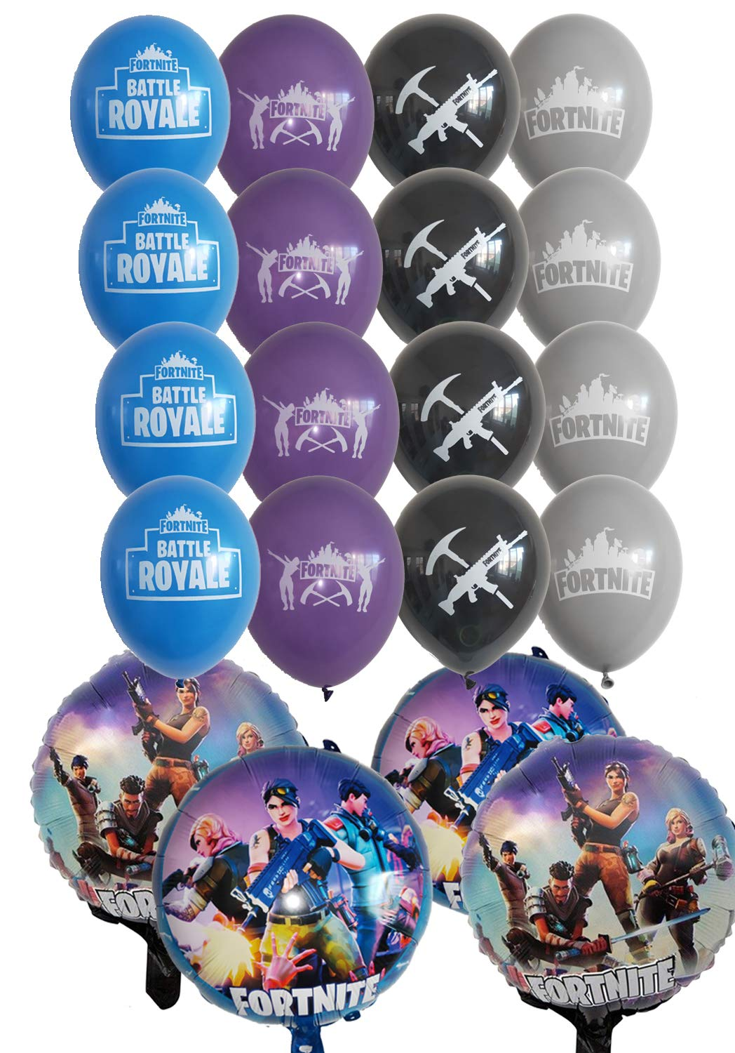 Fort-nite Birthday Balloons 20pcs - 16 Latex and 4 Foil fort nite Balloons Fort nite Party Supplies and video Game party supplies