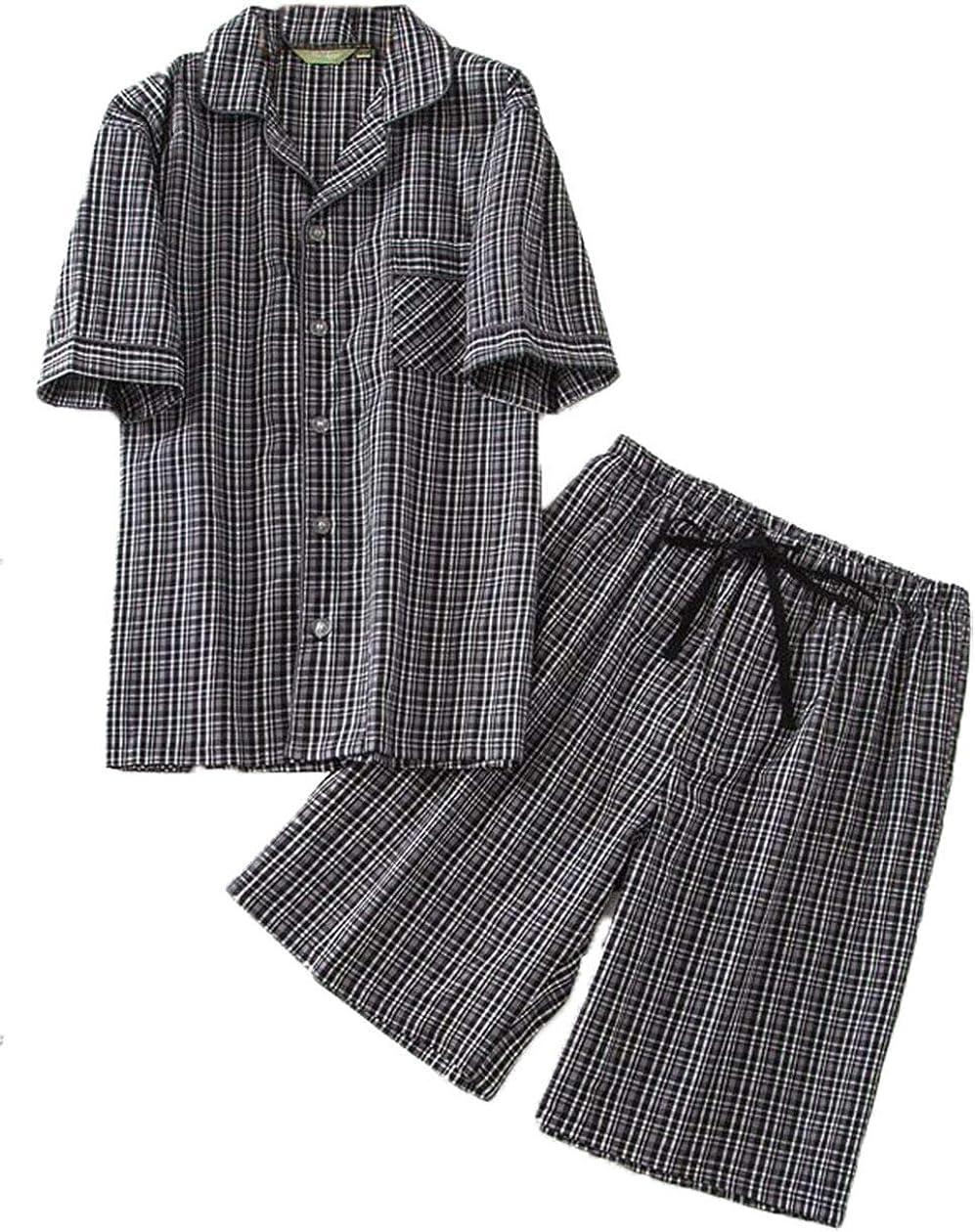 PNAEONG Men's Cotton Woven Short Sleeve Pajama Set Short Sleepwear