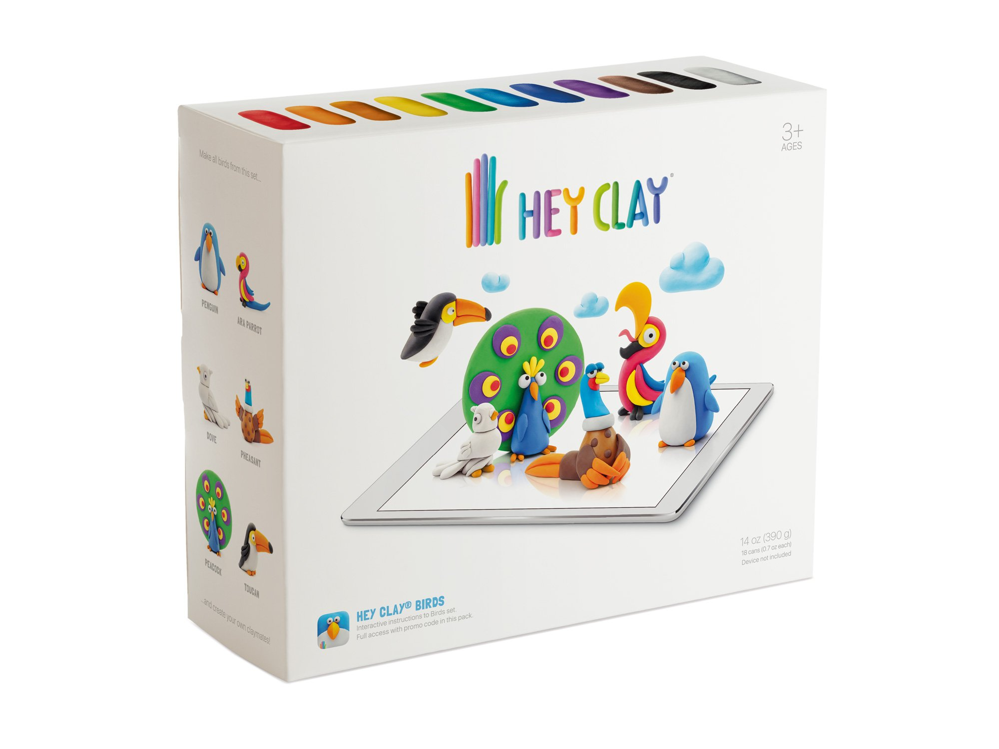 Hey Clay Birds - Colorful Kids Modeling Air-Dry Clay, 18 Cans with Fun Interactive App